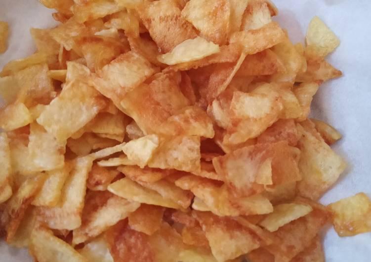 Cara Mudah membuat Keripik kentang renyah buat pelengkap soto ayam