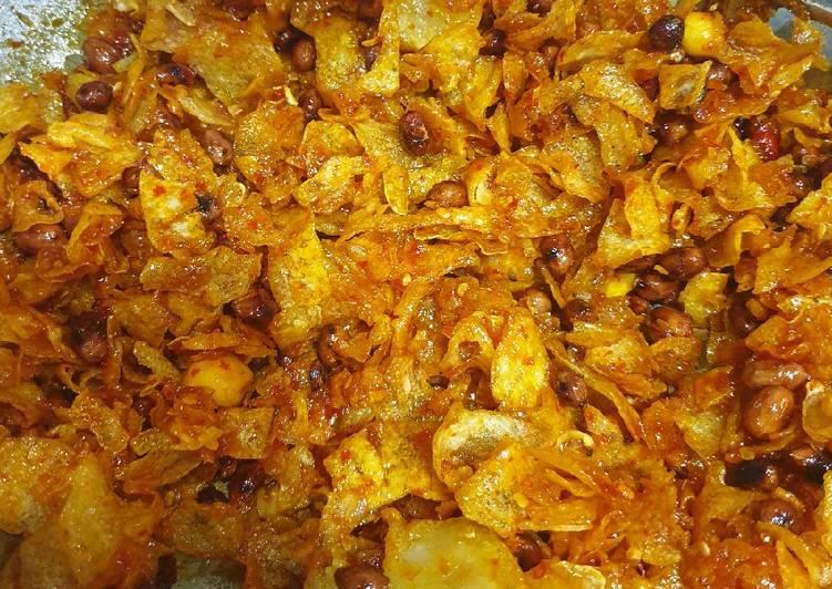 Resep: Keripik kentang pedas manis ala medan