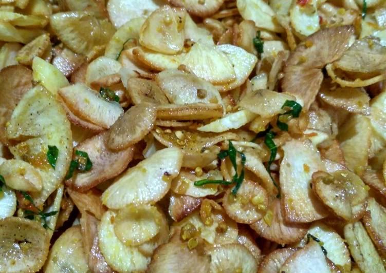 Resep memasak Keripik singkong bumbu kuning gurihh 🍠🍠 lezat