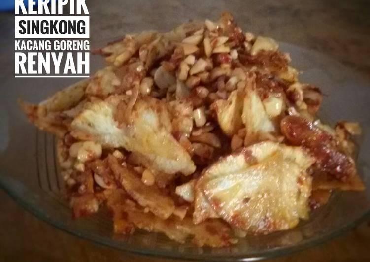 Cara mengolah Balado keripik singkong kacang goreng renyah
