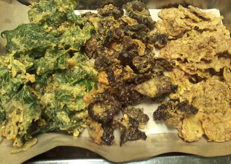 Resep mengolah Keripik bajakutem (bayam, jamur kuping dan tempe)