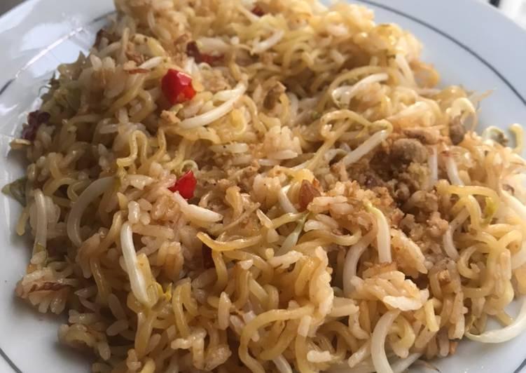Resep mengolah Nasi Mawut Tauge (Nasi sisa semalam + Mie instan) 😁 enak