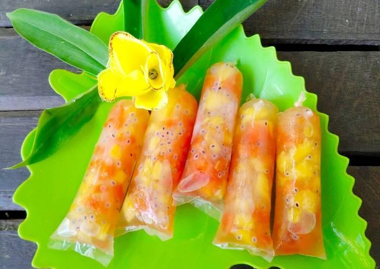 Cara membuat Es kero buah panas(pepaya nanas)