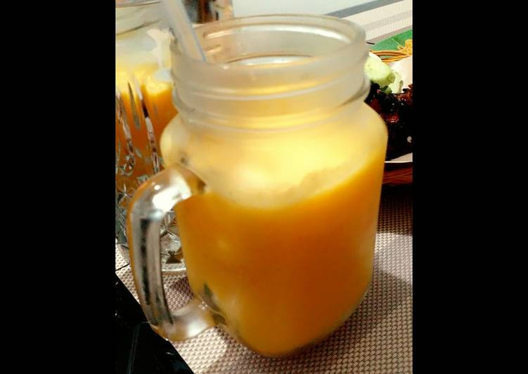 Cara membuat Minuman buka puasa : Jus jeruk + red melon + nata de coco