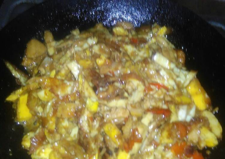 Resep: Suwar suwir telur mix ayam panggang