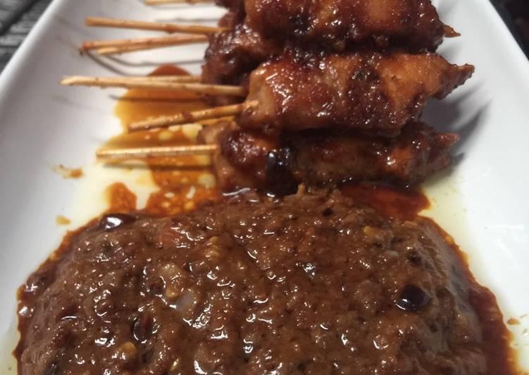 Resep memasak Sate ayam teflon Madura (bumbu kacang) nikmat