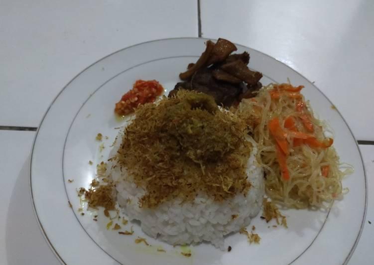 Resep membuat Nasi Babat Madura + Bihun Goreng dan Sambel Korek