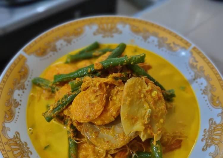 Cara Mudah membuat Gulai kuning udang jengki + kacang panjang