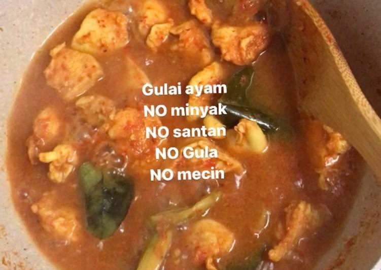 Resep mengolah Gulai ayam - diet no gula, minyak, santan, mecin, tepung