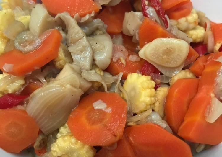 Resep: Tumis wortel jagung muda jamur tiram istimewa