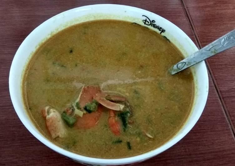 Resep mengolah Kari kepiting terong bumbu asal enak