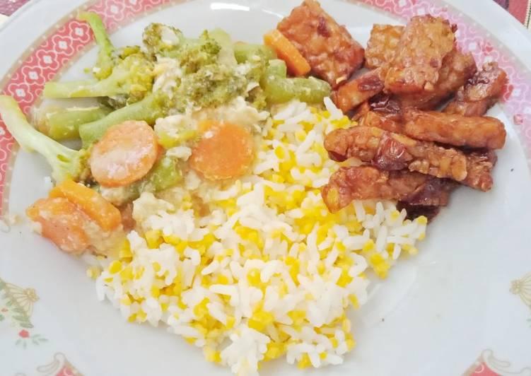 Cara Mudah membuat Nasi jagung Capcay dan tempe orek
