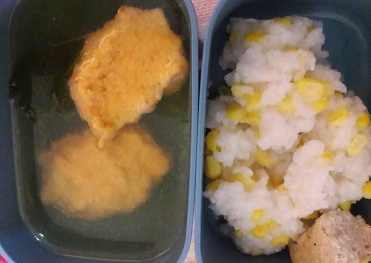 Nasi jagung dan bakso udang