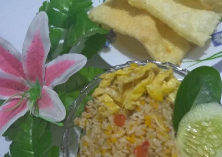Cara membuat Nasgor nasi jagung endes