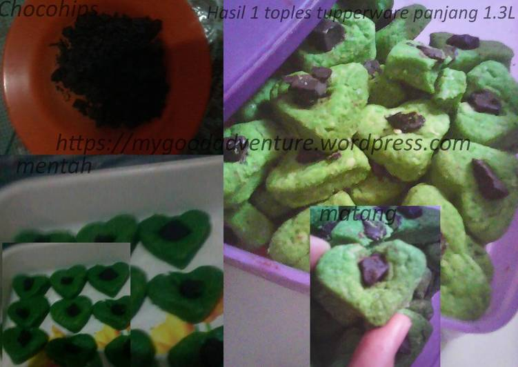 Cara Mudah membuat Nastar Matcha chocochips love kering ELEGANT(recipe from matcha lovers)