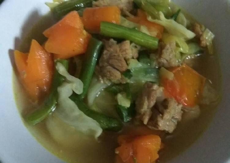 Resep memasak Sup tetelan sapi+sambal petai