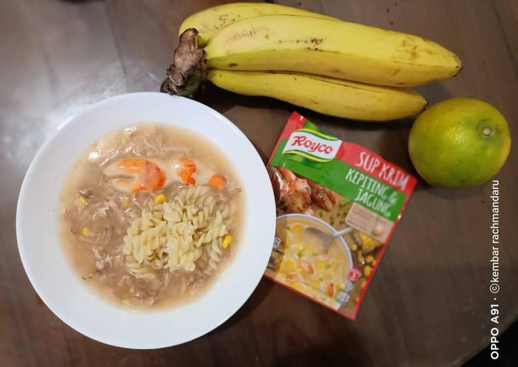 Resep: Sup krim kepiting feat makaroni lezat