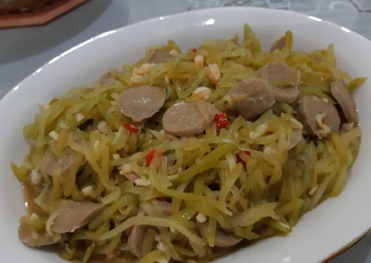 Resep membuat Cah jipang (labu siam) udang bakso lezat