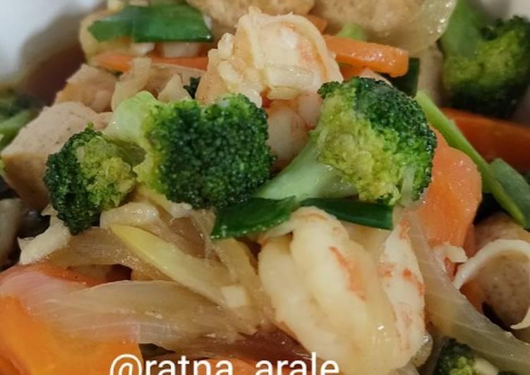 Cara Mudah mengolah Tumis brokoli udang saus tiram