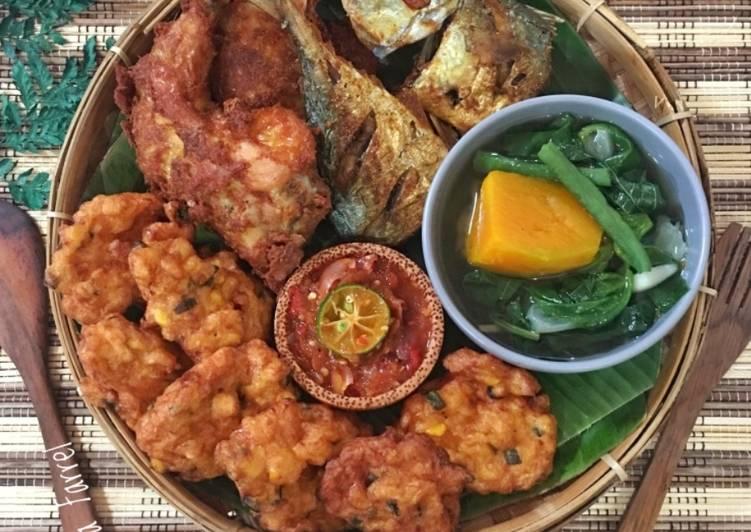 Resep: Ikan peda,ayam goreng,Ampal jagung udang,sayur bayam+sambal istimewa