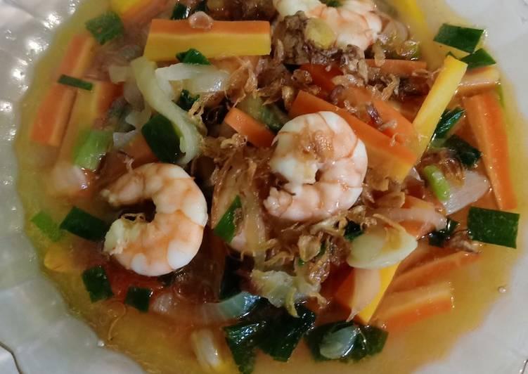 Resep: Cah udang wortel (Kuah rasa jahe) lezat