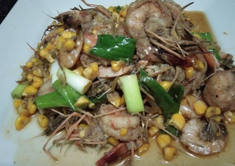 Cara Mudah mengolah Udang dan jagung manis masak saus tiram enak