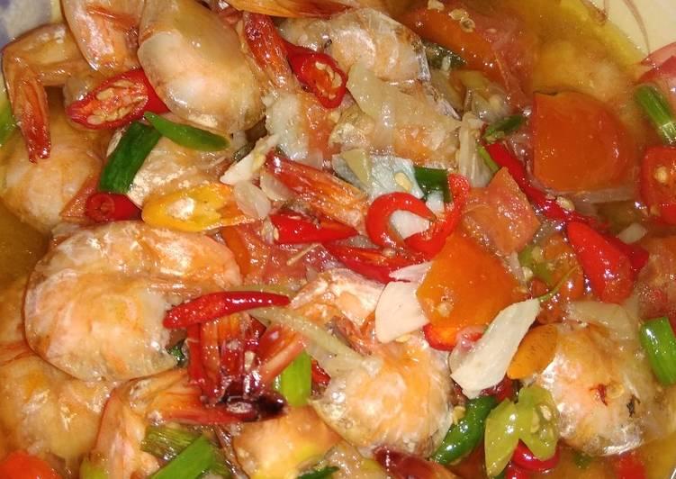 Resep: Udang mercon saus tiram enak