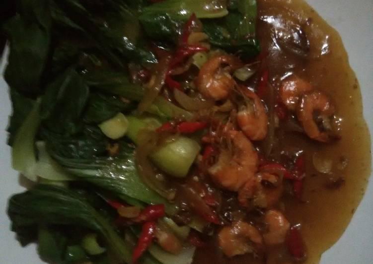Cara memasak Pokcoy saos tiram cah udang enak
