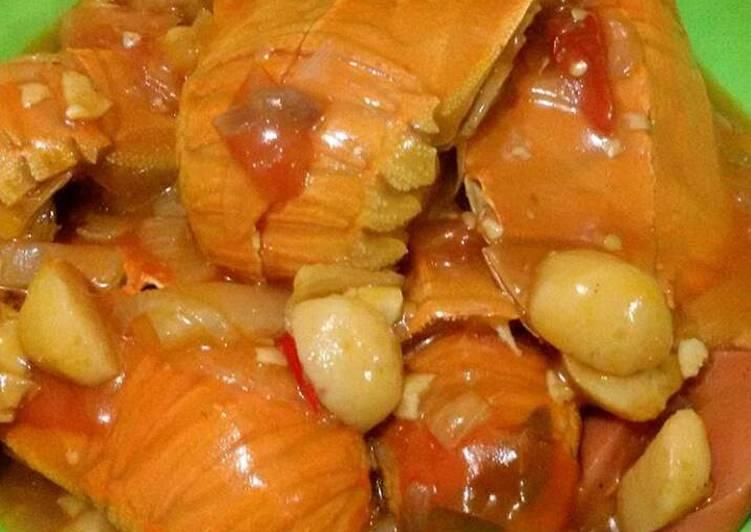 Resep membuat Udang kipas saus tiram pedas