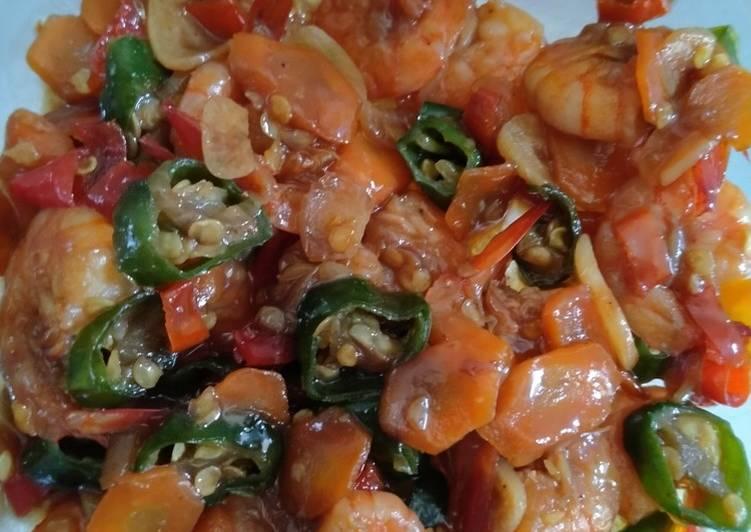Cara memasak Tumis udang saos tiram enak