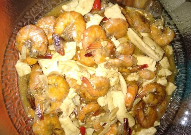 Resep: Udang tahu saus tiram simple