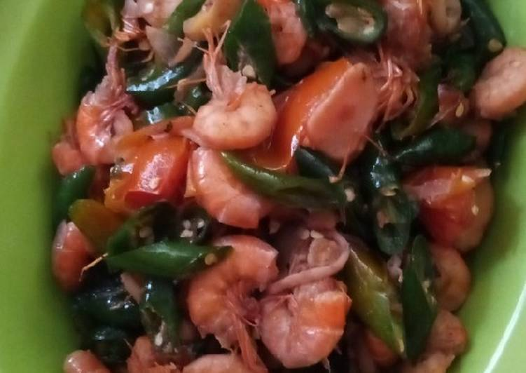 Resep: Udang sambal ijo saus tiram enak