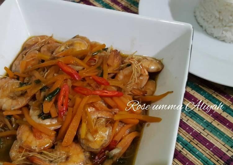 Resep: Udang Wortel saus tiram lezat