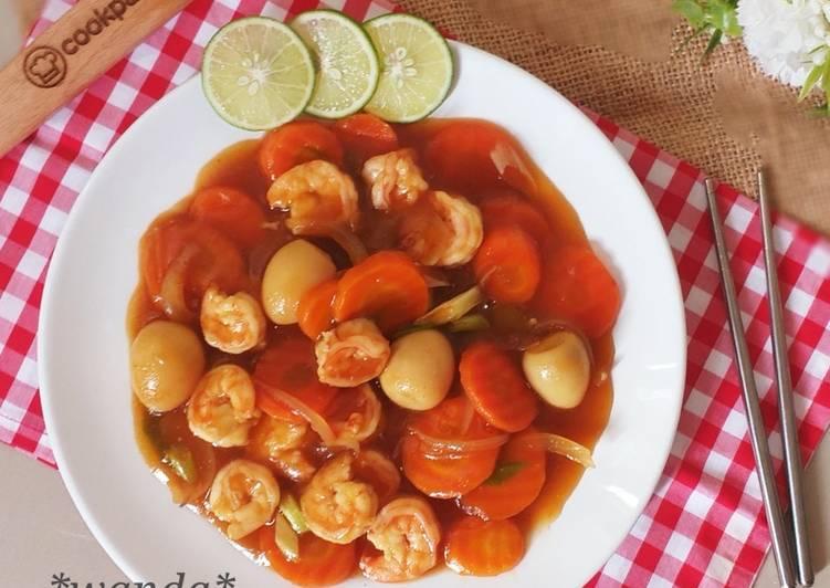 Cara memasak Udang Wortel Telur Puyuh Masak Saus Tiram a.k.a Udang Saus Tiram ala resto