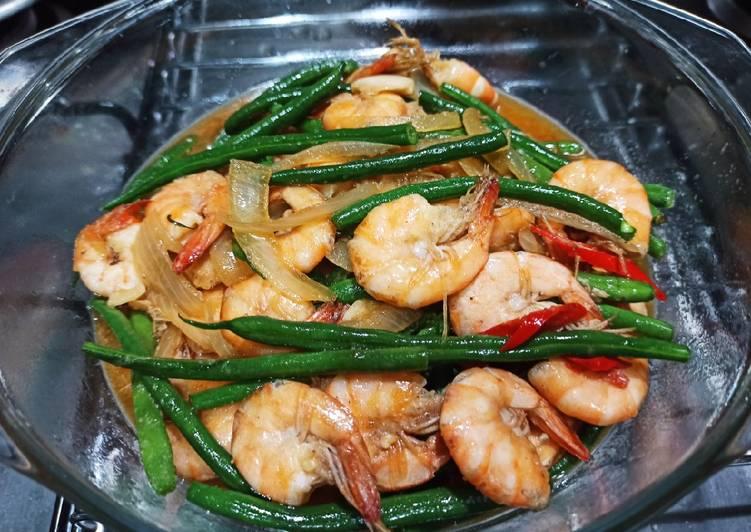 Cara Mudah memasak (baby) buncis udang saus tiram lezat