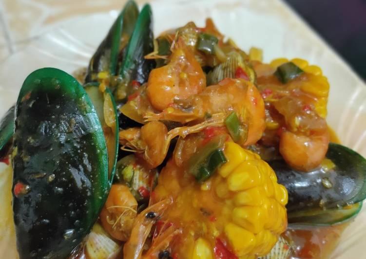 Resep memasak Seafood saos padang 🦐🦞🦑🦪🌽🧅🍤
