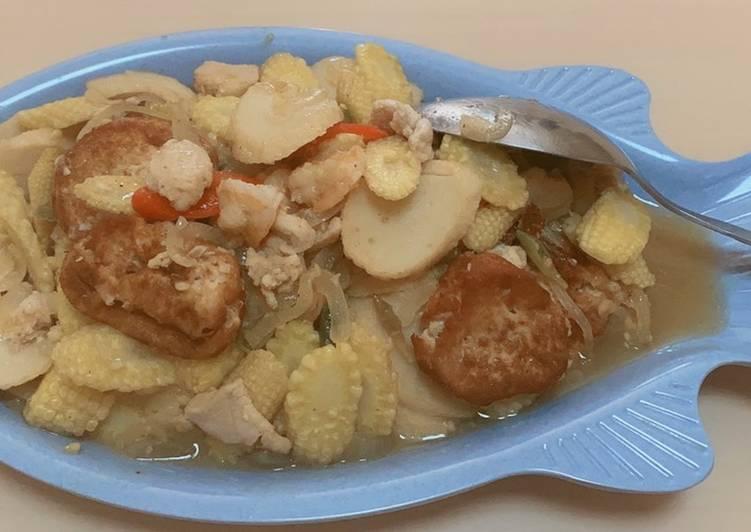 Resep mengolah Jagung semi tumis seafood dan tahu
