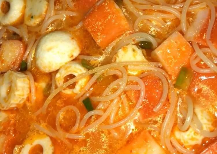 Resep: Spaghetti seafood kuah seblak