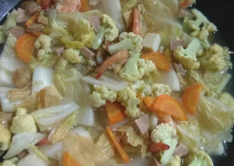 Resep mengolah Capcay seafood instant bener