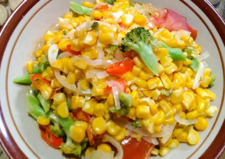 Resep Menu Diet 1:Tumis Jagung dan Brokoli Enak dan Sehat Tanpa Minyak
