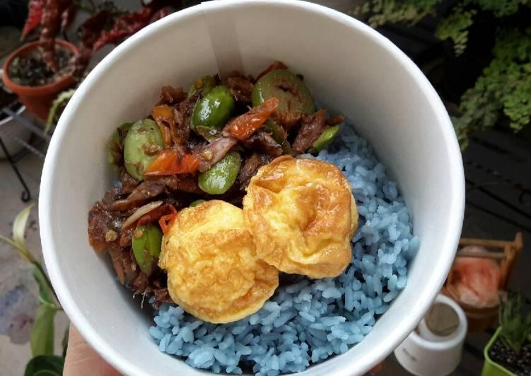 Resep: Nasi biru lauk peda petai