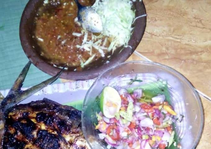 Resep: Bandeng bakar(tanpa duri) with sambal matah dan pencit