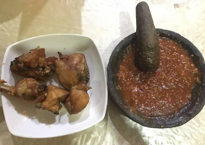 Resep: Ayam goreng sambal lalapan lamongan