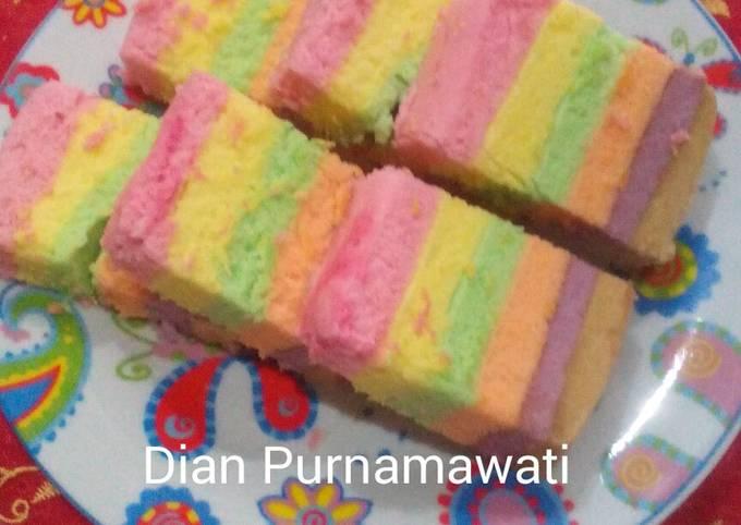 Resep: Rainbow cake kukus irit telur