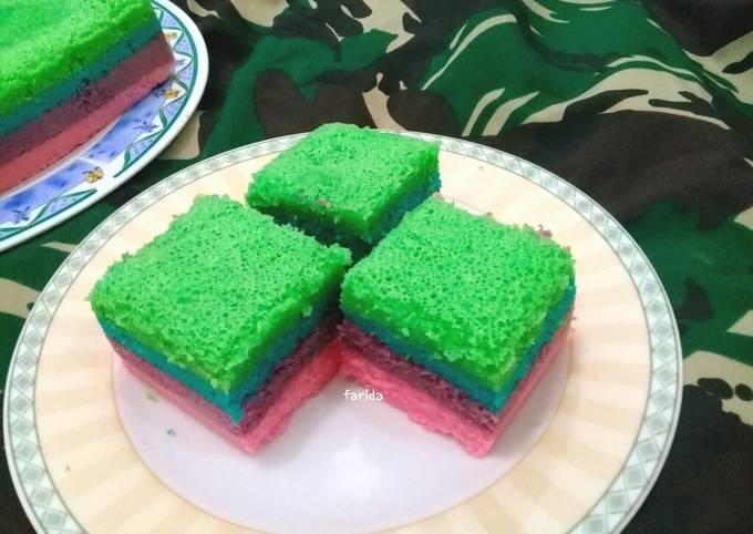Resep: Rainbow Cake Kukus Ekonomis (2 telur)