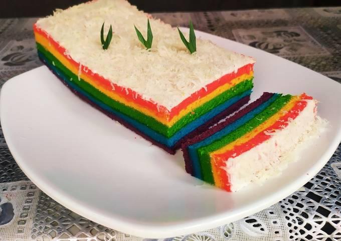Resep: Rainbow cake kukus 2 telur takaran sendok