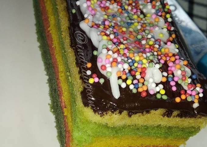 Resep: Rainbow Cake Kukus (2 telur)