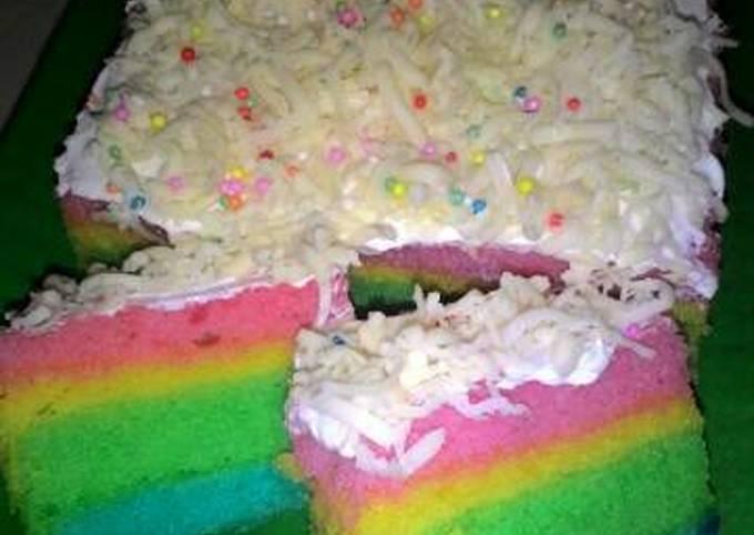 Resep: Steam Rainbow cake irit 2 telur aja..😘