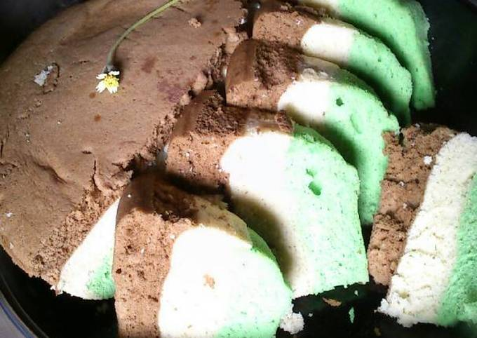 Resep Rainbow cake kukus irit 3 telur