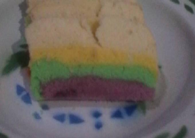 Resep Rainbow cake kukus (2 telur) ekonomis ^^
